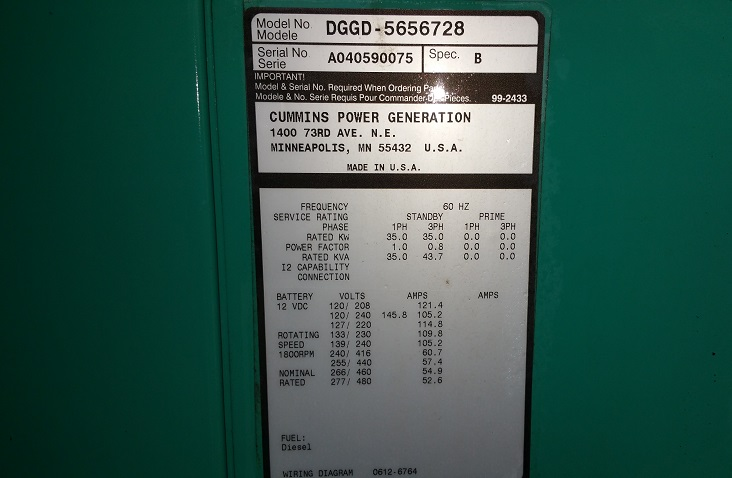 used 35kw diesel generator for sale - cummins 0075