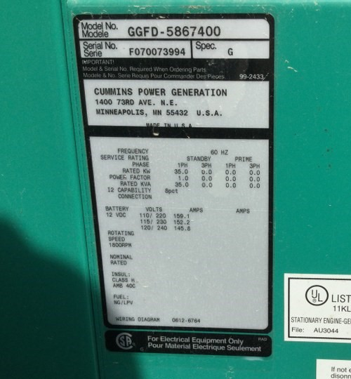 used cummins 35kw used lp generator - 3994